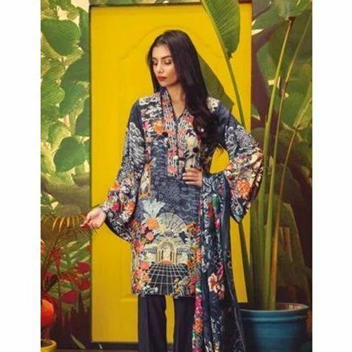 2229a8fdb0 Linen Ladies Embroidered Designer Pakistani Suit, Rs 2550 /piece ...