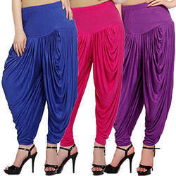 Pink & Purple Cotton Ladies Colored Dhoti Pant