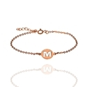 M Letter Disc Chain Gold Plated Womens Bracelet Hot Hand Design Foerver