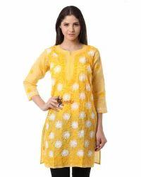 Saadgi Lucknowi Chikankari Aari Embroidered Cotton Kurti