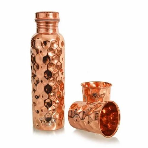 Copper Diamond Hammered Bottle 1500 ml with Glass 300 ml 2 Pcs Set Storage Serving Drinking