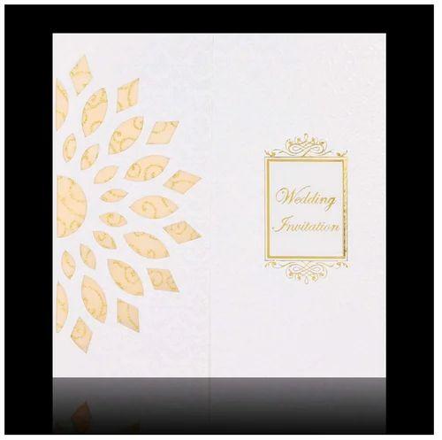 Dashing Gold Wolly Flower Wedding Invitation Card