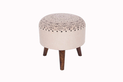 Cotton Printed Designer Wooden Bar Stool