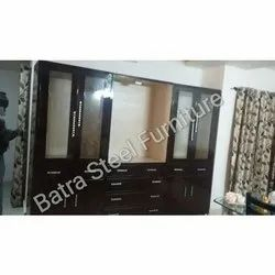 BSF Mild Steel and Glass Fancy Steel Living Room Cupboard for Home