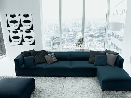 Charmant Velvet L Shape Sofa Set