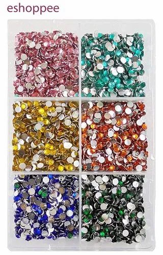 Eshoppee 4mm Resin Stone 3000 Pcs Approx 60 Gm Box,For Art And Craft DIY Kit