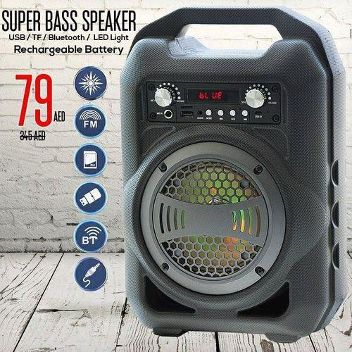 Bs 12 Big Size Portable, Lightweight And Rechargeable Bluetooth Speaker  With Fm, Tf, Pen Drive, Aux