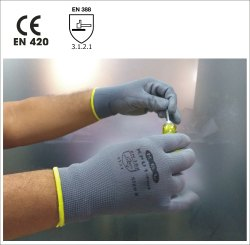 KPU1-Plus Grey Nylon Knitted Gloves With Poly Urethane Coating