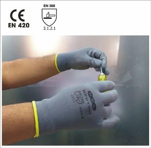 KPU1-Plus Grey Nylon Knitted Gloves With Poly Urethane Coating, Size: 7-9