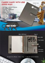 Fabric Diary With USB 10000mAH