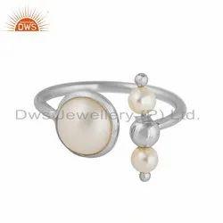 Natural Pearl Gemstone Designer Sterling Fine Silver Rings