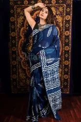 Dabu Indigo Printed Cotton Saree