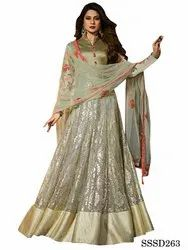 Silk Semi-Stitched Green Color Lycra Fabric Long Anarkali Suit