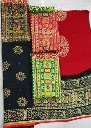 Original Wax Batik Satin Suits With Chiffon Dupatta