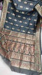 Sanghamitra Sarees 6.5 m Baluchuri artificial silk saree, With Blouse Piece, hand weaving