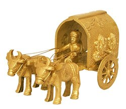 Brass Statue of Laxmi Ganesh Symbolized Bullock Cart Showpiece for Home Decor