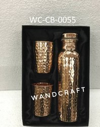 Wandcraft Exports Hammered Copper Water 1 Bottle And 2 Glass Gift Diwali Corporate Gift Set