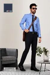 Solid Blue Corporate Unstitched Uniform Shirts and Pant