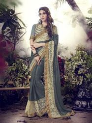 Dark Grey Designer Lycra Saree