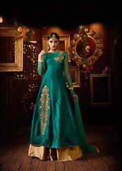 328314a415 Taffeta Silk Aqua Color Embroidered Indo-western Dress
