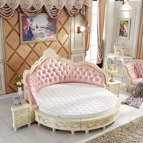 Oak Wood Round Bed Cushion Size, Round Queen Size Bed