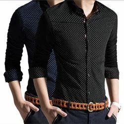 Black Cotton Mens Dotted Shirt