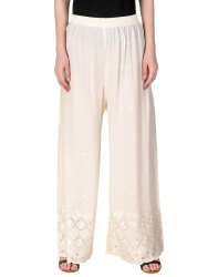 Regular Fit Women's Rayon Chikan Embroidery Palazzo Pants For Women