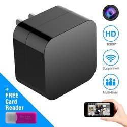 IIFTech Black IFITech Hidden Camera, Wireless USB Charger Mini Cam HD 1080P Home Security Camera With WiFi Remote