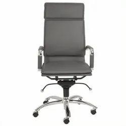 Rexine Chrome Office Chair, Black