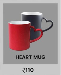 Red & Black Plain Ceramic Sublimation Mug (Mug Magic Heart Handle)
