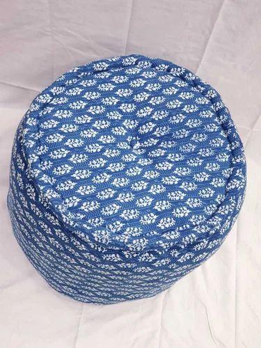 Indigo Blue Hand Block Print Pouf With Cotton Filling Pouf Ottoman Mesmerizing Pouf Filling
