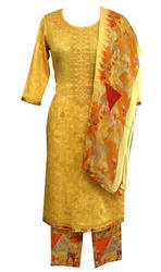 Yellow Suit With Printed Duppata