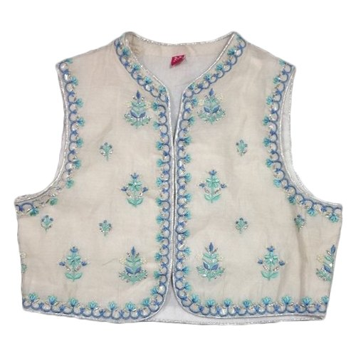 Kids Chanderi Casual Wear Embroidered Jacket, Size: 2-15