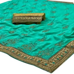 Party Wear Ladies Hand Work Cotton Embroidery Saree, Length: 6 m (with blouse piece)