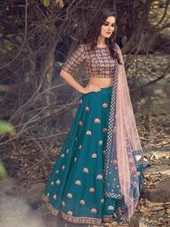 Pramukh Stitched Tapeta Silk With Embroidery Work Lehenga, Packaging Type: Polly Bag