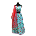 Cotton Party Wear Croptop Lehenga With Contrast Dupatta