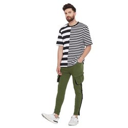 Cotton Slim Fit Olive Cargo Taped Sweat Pants