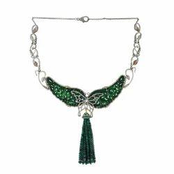 18kt Gold Choker Silver Diamond Jade Necklace