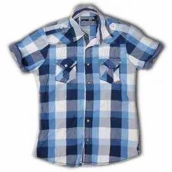 Cotton Check Kids Casual Half Sleeve Shirt