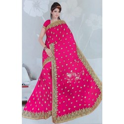 Party Wear Ladies Embroidered Saree, 6 m (with blouse piece)
