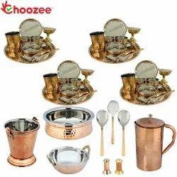 Choozee - Set of 4, Stainless Steel Copper Thali Dinner Set with Serveware, Salt Pepper Set & Hammer