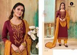 Straight Unstitched Cotton Embroidered Salwar Kameez