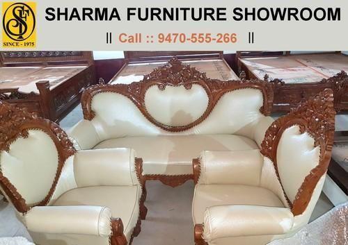 Maharaja Wood Cutting Design Sisam Wood Leather Sofa Set With