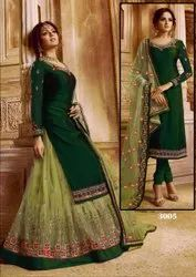Georgette 3/4 Sleeve Designer Heavy Embroidery Suit, Size: Free size