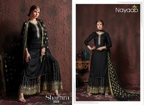 c20d609774 Black Party Wear Sharara Suit, Rs 1201 /piece, Khushika Fashion ...