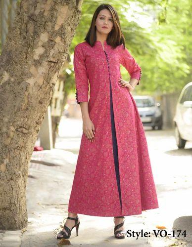 Vedika Overseas Printed Pink Cotton Double Layered Long Dress 5fa917e0b