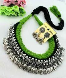 Silver Oxidized Kohlapuri Thread Jewellery