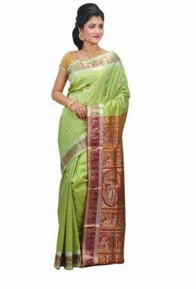 50885025cb2328 Handloom Silk Pista Green Swarnachari Bengal Saree With Chocolate-colored  Border