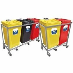 Bio Medical Waste Bin with Pedal and Trolley