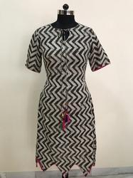 Zig Zag Rayon Print Brown Colour Kurti